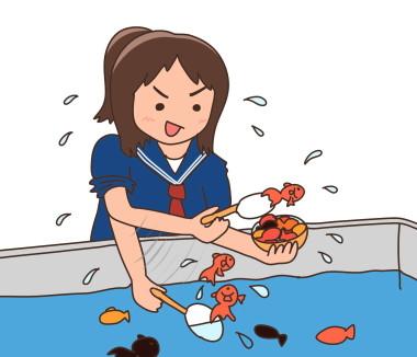 女子高生がいきなり金魚をジャンジャンすくい始める